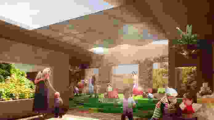 Andrew Burges Architects' three storey  childcare centre will feature an open-air playspace on each floor.