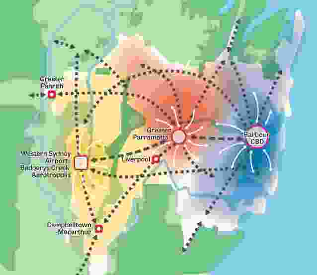 """The """"metropolis of three cities"""" laid out in the Draft Greater Sydney Region Plan."""