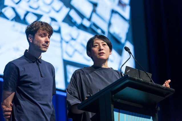 Nicholas Moreau (left) and Hiroko Kusunoki (right) at the 2018 National Architecture Conference.