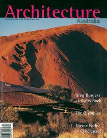 Uluru – Kata Tjuta Cultural Centre onArchitecture Australiacover, 1996.