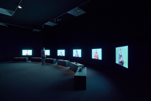 Installation view of Candice Breitz's <i>Wilson Must Go</i> 2016 on display in NGV Triennial at NGV International, 2017.