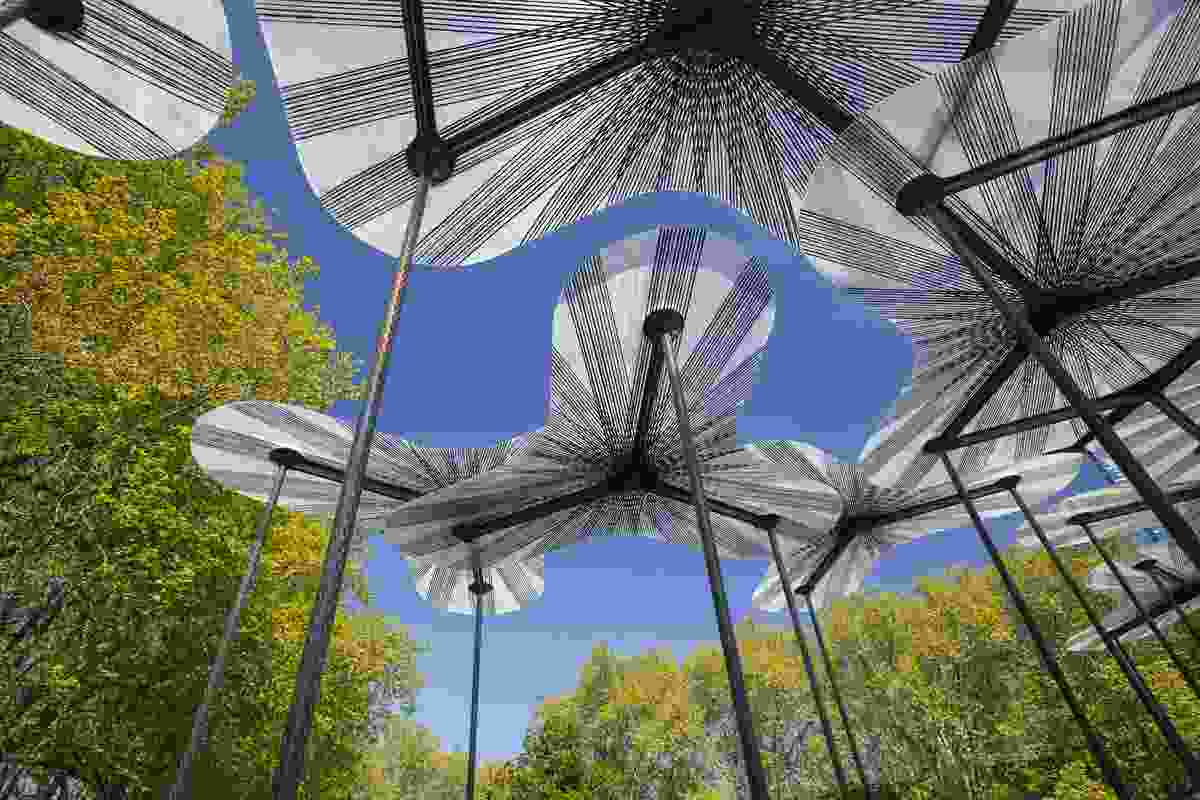 The 2015 MPavilion designed by Amanda Levete intends to create the sensation of a forest canopy.
