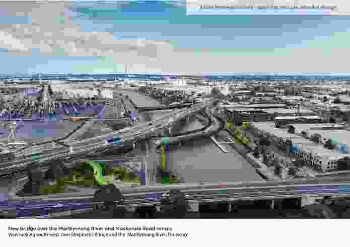 The veloway forms part of the $5.5 billion West Gate Tunnel Project. Pictured here in the foreground is Shepherd Bridge, Footscray.