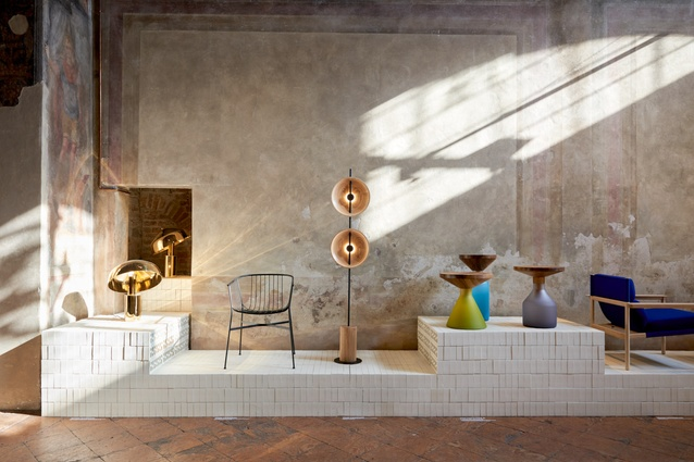 L-R: Ora desk lamp by Ross Gardam, Mito  light and Jeanette chair by Tom Fereday, Congruent Series tables by Jon Goulder.