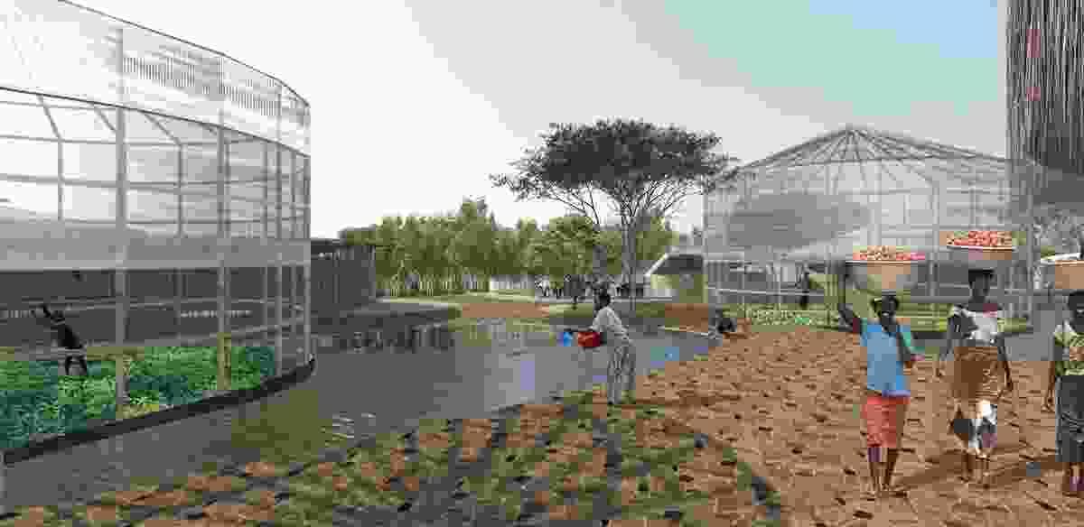 The Kenyan ecovillage's farm area designed by O2 Design Atelier.