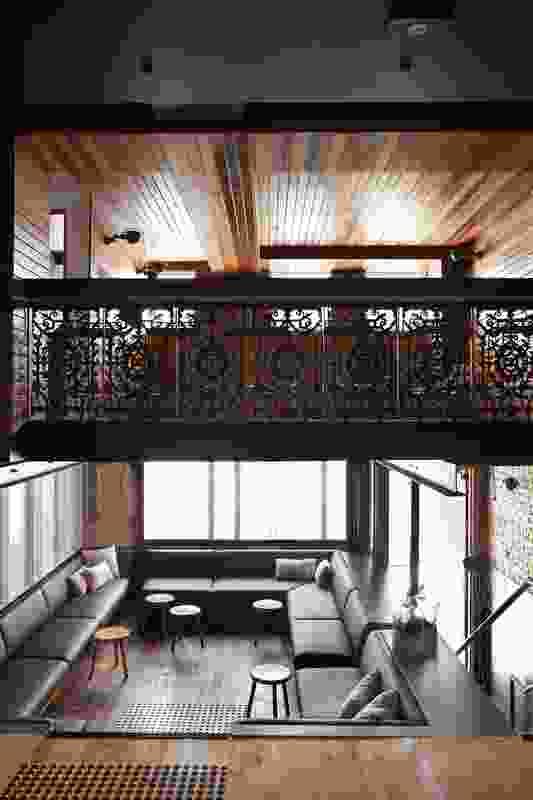 The sunken lounge has a loft verandah overhead.