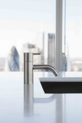 The first Vola tap, the HV1, designed in 1968 by Danish architect and designer Arne Jacobsen and still specified today.