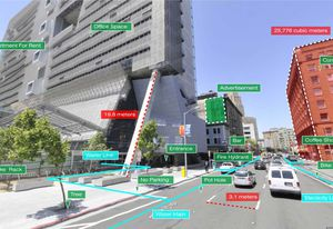 A visual from an augmented reality-based traffic assistance app.