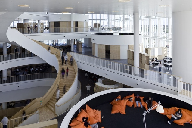 Ørestad College in Copenhagen by 3XN: stairs and transparency used as mapping devices.
