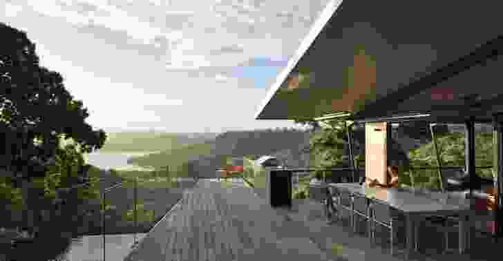 A broad dining deck narrows into a poop deck, the angles of its balustrades drawing focus to the mountains.