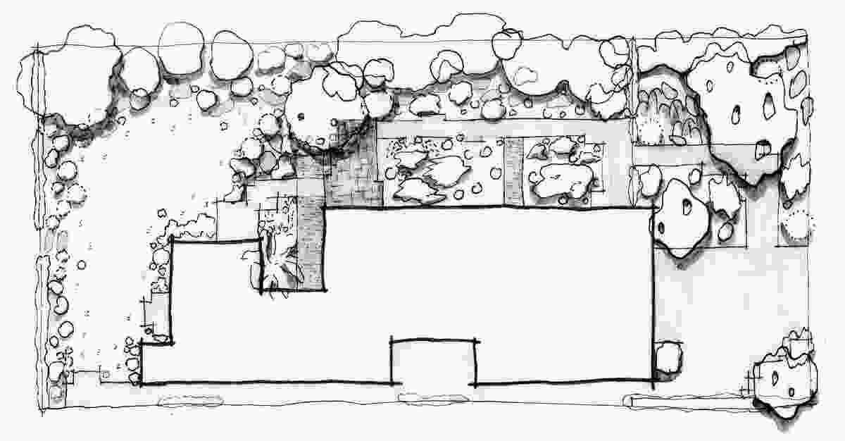A sketch plan of Charles House garden.