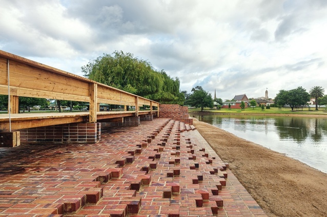 """The two brick spillways laid in complex horizontal """"steps"""" beside Cato Lake in Stawell."""