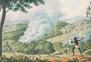 Aborigines Using Fire to Hunt Kangaroos, Joseph Lycett, approximately 1775–1828.