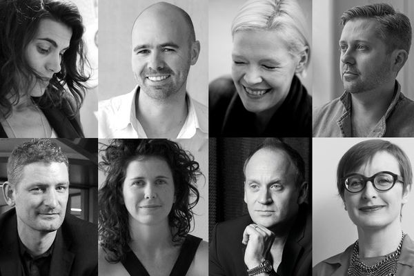 2014 jury. Top (L–R): Susanna Bilardo, Hamish Guthrie, Geraldine Maher and Ryan Russell. Bottom (L–R):, Matthew Blain, Christina Waterson, Paul Kelly and Victoria Judge.