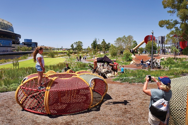 Aboriginal artist Sharyn Egan's Waabiny Mia – Play House (partial view) is a woven rope structure based on a numbat tunnel that encourages free play.