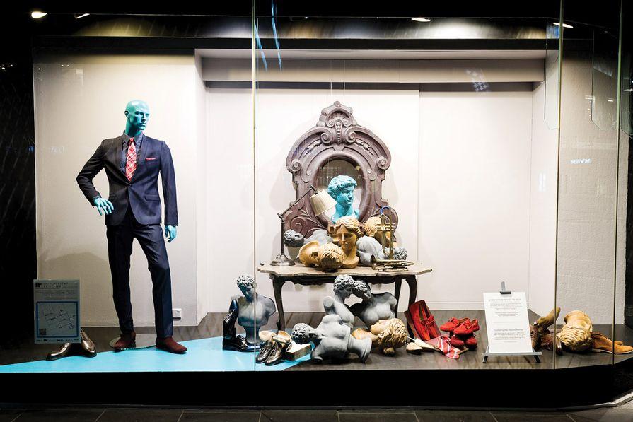 Michelangelo busts in the David Jones menswear window by AZB Creative.