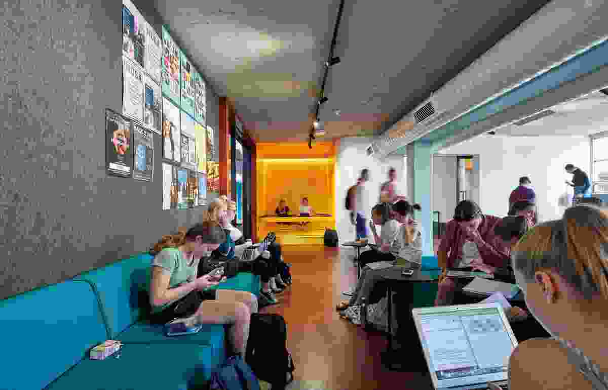 The furniture selection is similar to that in an airline lounge and responds to technological changes that mean students can now work anywhere, at anytime.