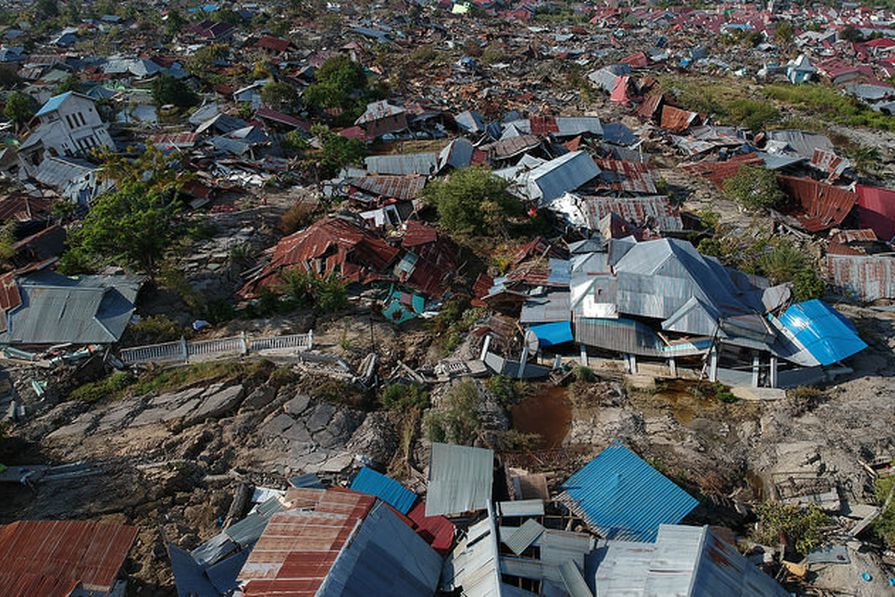 Houses destroyed in the villages of Petobo and Sempanao in central Sulawesi, Indonesia.