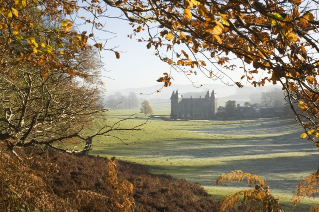 Autumnal view at Newton House at Dinefwr, Llandeilo, Carmarthenshire, Wales, seen from Brown's Walk.