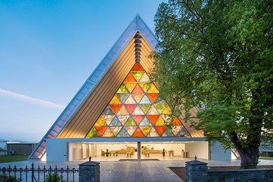 Cardboard Cathedral in Christchurch, New Zealand by Shigeru Ban, 2013.