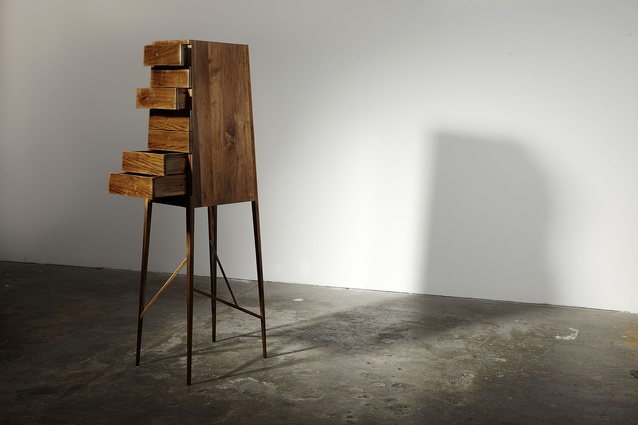 Tall boy from the Broached Colonial collection by Charles Wilson. Manufactured byWoodcraft Mobiliar (2009).