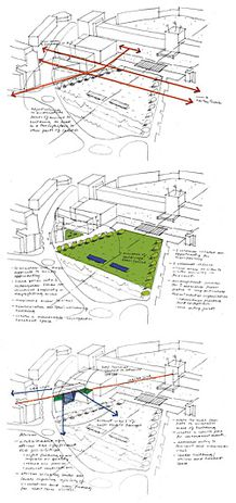 N°2 Sketches from the competition entry showing the proposed building's relationship to the wider campus and its flow of people.