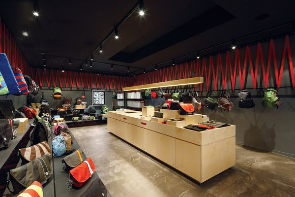 The Melbourne store gets its distinctive look through the use of a red webbing material.