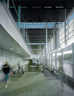 The main entrance to the station showing vertical circulation down to the enlarged western concourse.