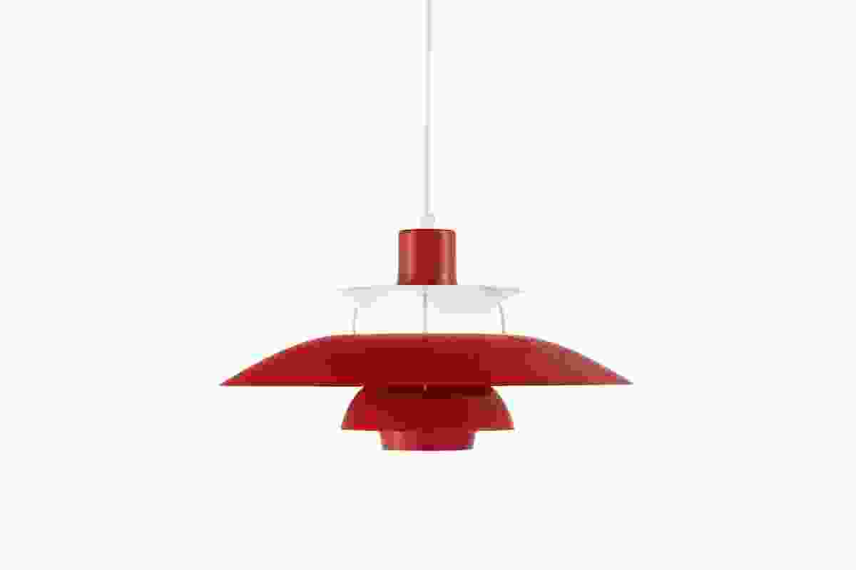 The PH 50 in chilli red, a birthday revision of Poul Henningsen's PH 5.