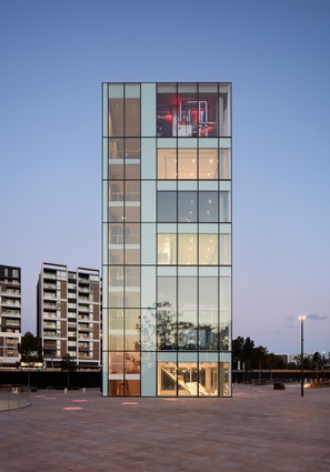 The six storey tower of the Green Square Library and Plaza by Stewart Hollenstein in association with Stewart Architecture.