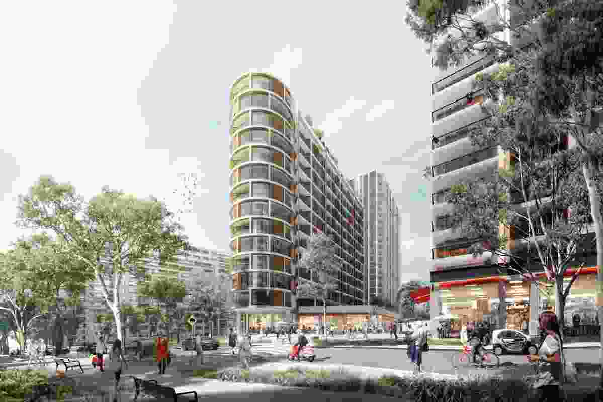 A town square and retail area in the Ivanhoe Estate redevelopment designed by Hassell, Bates Smart, Candalepas Associates, Cox Architecture and Turner.