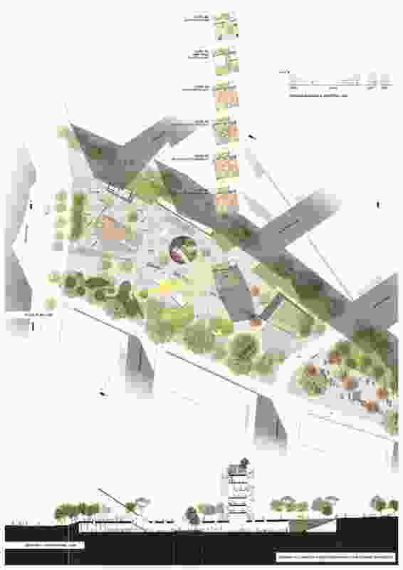 Section A longitudinal  from the Stewart Hollenstein + Colin Stewart Architects scheme.