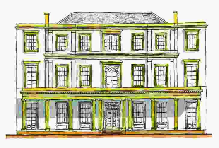 Burdekin House, Macquarie Street, Sydney (c. 1841); demolished 1933.