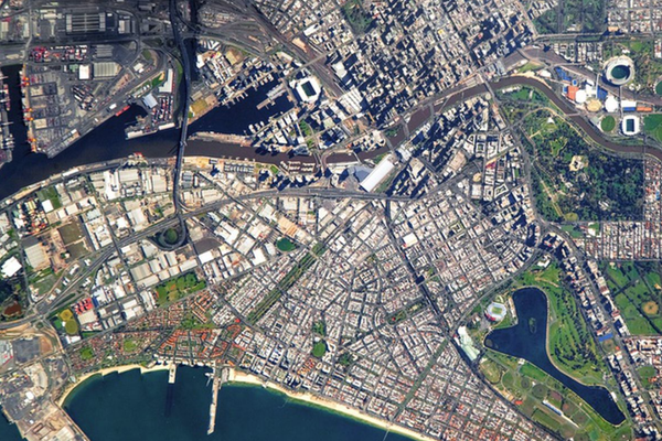 Satellite view of central Melbourne.