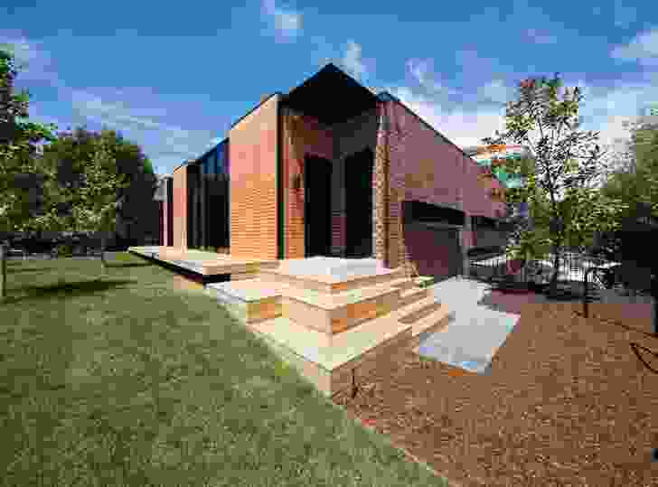 The junction of the recycled and new bricks is exaggerated in the corner detailing.