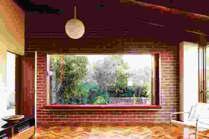 A large window frames the Australian indigenous garden.