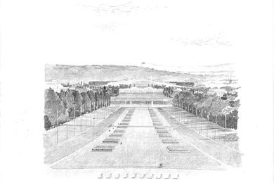View from Anzac Parade, Parliament House, Canberra, 1981. Pencil on paper vellum.