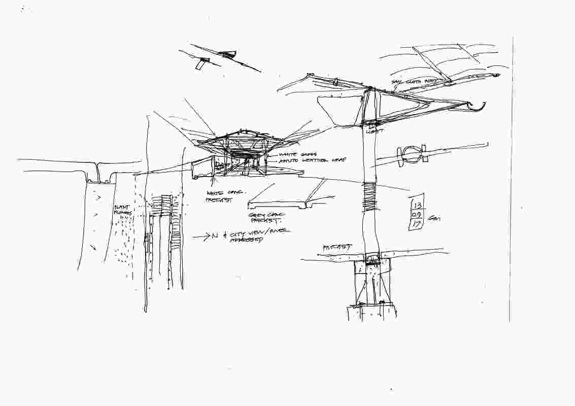 A sketch of the 2019 MPavilion by Glenn Murcutt.