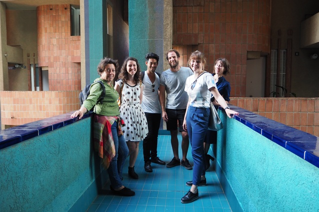 Tour guide of Walden 7 (and resident at this complex since 1994) Alexandra Olivella with 2017 Dulux Study Tour winners, Louisa Gee, Alberto Quizon, Morgan Jenkins, Clare Scorpo and Imogene Tudor.