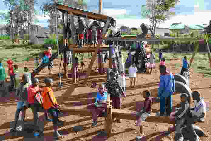 Recycled timber was used to build this playground in Kibera Public Space Project 01.