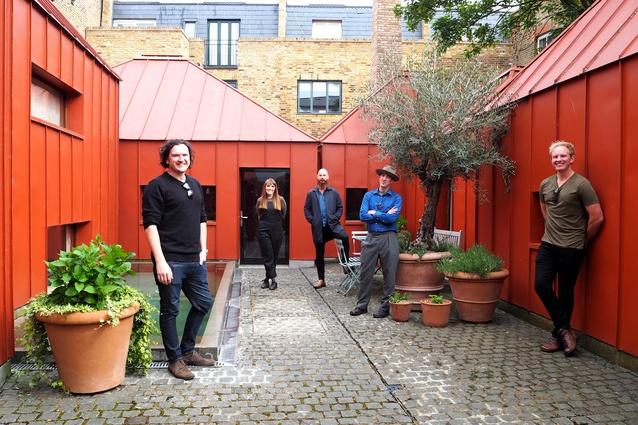 The 2018 Dulux Study Tour winners at the Tin House by Henning Stummel. L-R: Joseph O'Meara, Leah Gallagher, Kim Bridgland, Dirk Yates and Jason Licht.