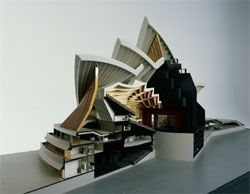Sectional model of the Opera House, showing Utzon's final development for the Major Hall, now the Concert Hall, constructed by Finecraft Modelmakers, Sydney, scale 1:128, 1966. Powerhouse Museum, Sydney.