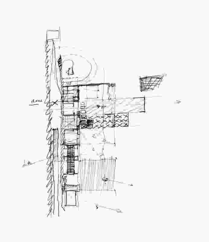 A sketch diagram of Wall House, Shizuoka, Japan by Peter Stutchbury with Keiji Ashizawa Design (2007-09).