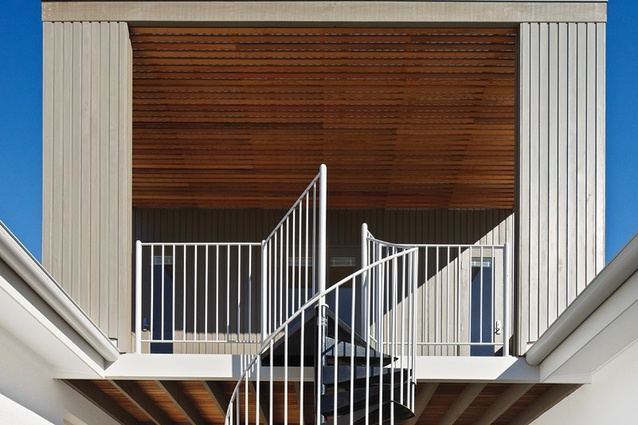 Detail of the new studio and balcony above the central entry hall.