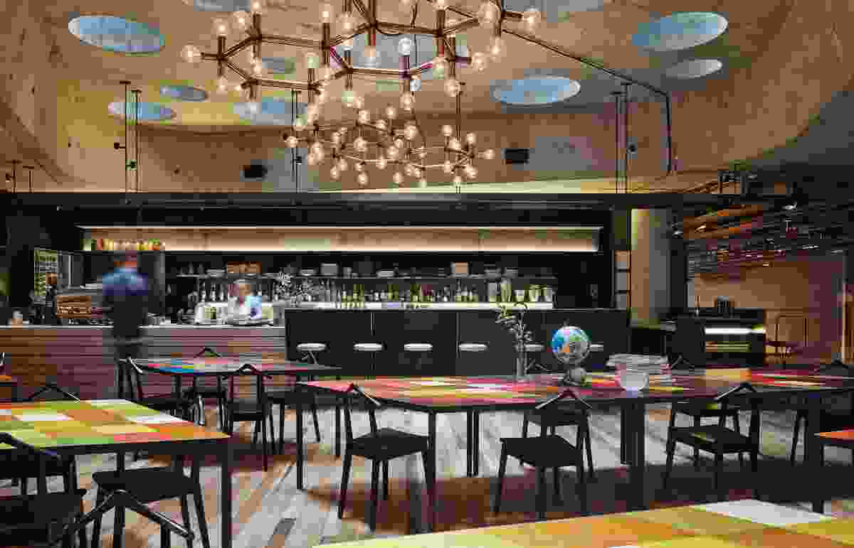 The hotel's bar and lounge, located in the atrium, provides guests with a place to converge.