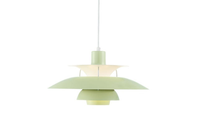 The PH 50 in wasabi green, a birthday revision of Poul Henningsen's PH 5.