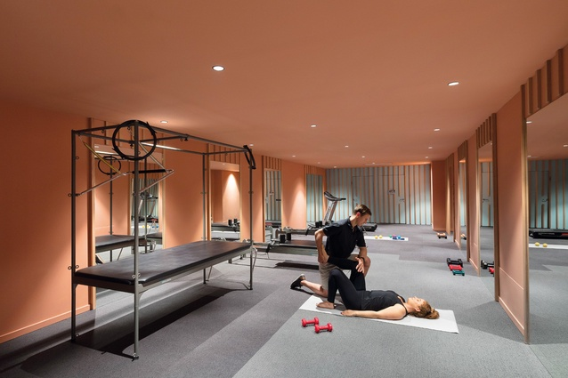 In the gym, the designers employed reflection and colour to create a sense of vibrancy.