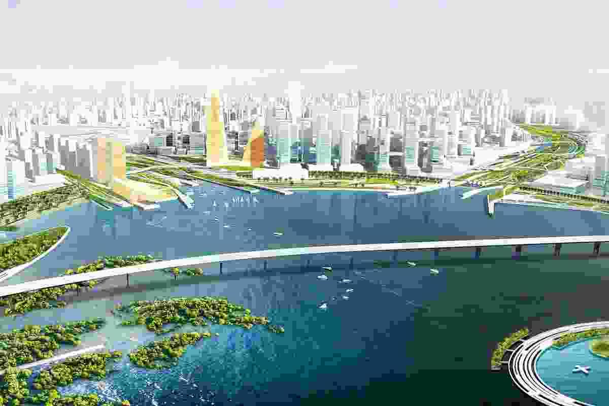 The Qianhai master plan creates a dense, ecologically sensitive urban territory.