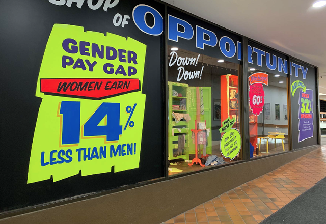 The Shop of Opportunity, a large-scale installation by the Hotham Street Ladies, explores themes of feminism, community, suburbia, public space and gender equality.