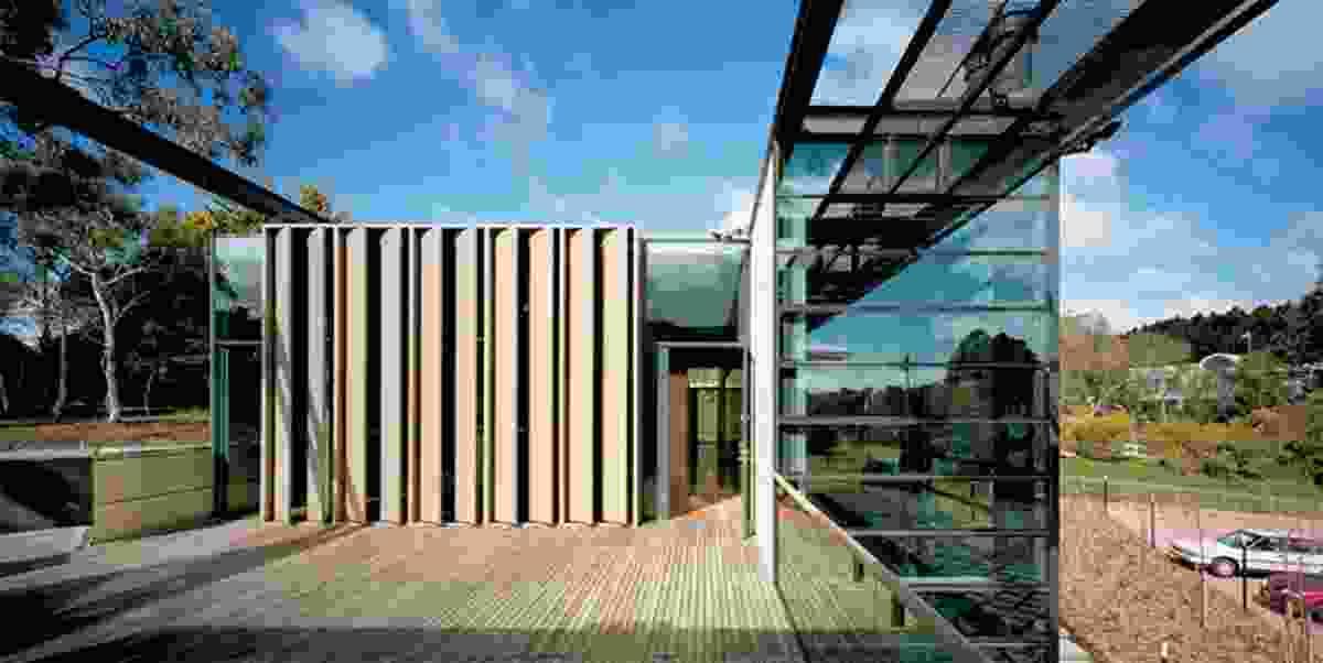 The facade of the counsellor's accommodation, facing the upper deck, mirrors the principal public facade.